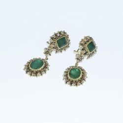 Pendientes esmeraldas oro