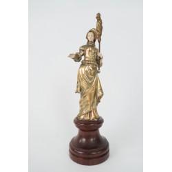 Criselfantina de bronce con cabeza de marfil