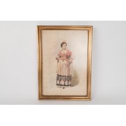 Acuarela de mujer con traje regional, finales siglo XIX. principios del XX.