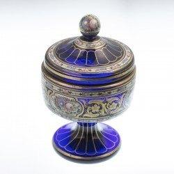 Copa cristal esmalte azul
